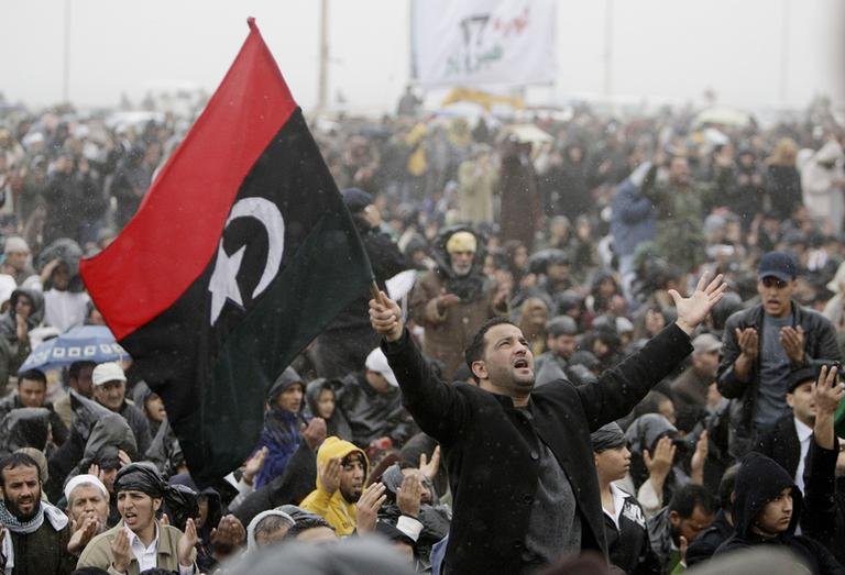 Anti-government protesters during Friday prayers in Tripoli, Libya. (AP)