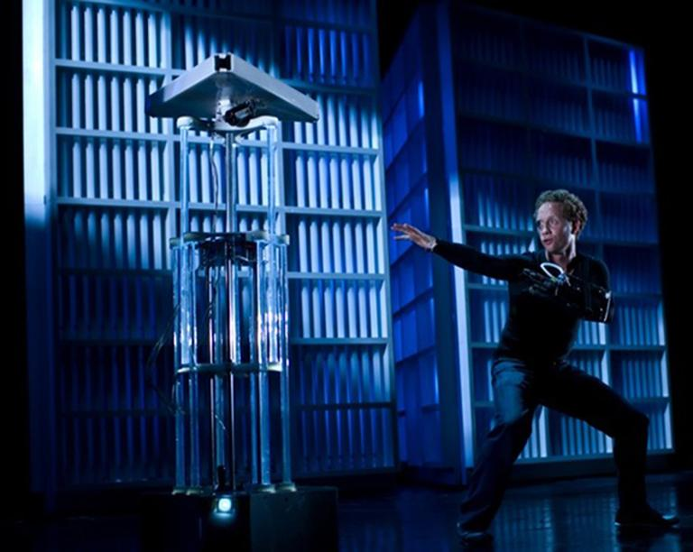 """Human performer dances with an operabot in """"Death and the Powers"""""""