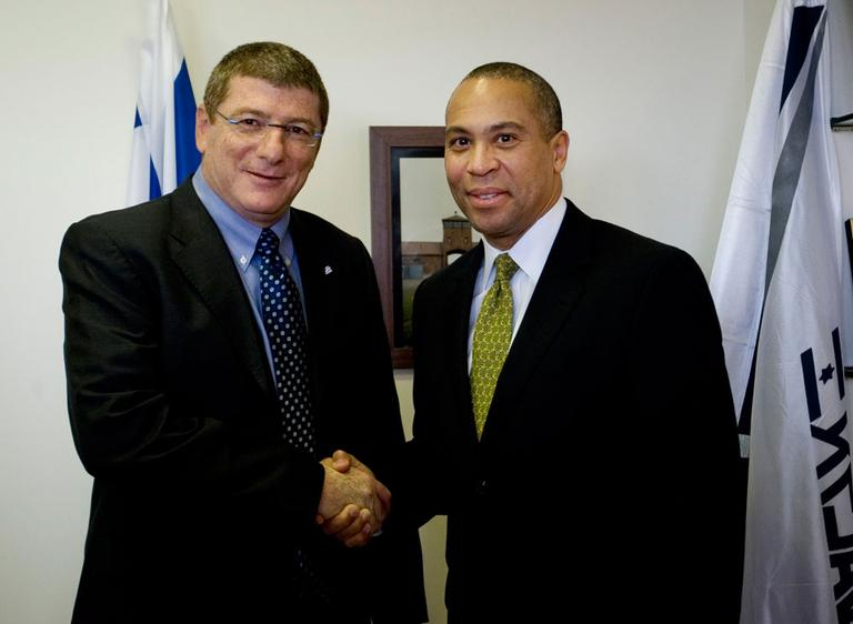 Gov. Deval Patrick, right, meets with Eliezer Shkedi, CEO of El Al airlines, in Israel. (AP)