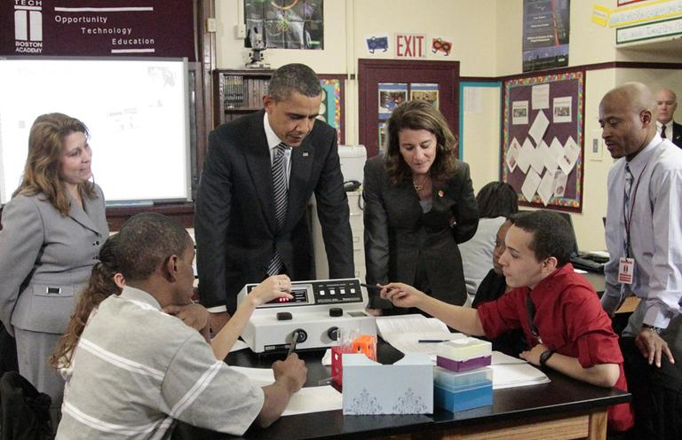 President Obama visits a classroom at TechBoston Academy with Melinda Gates in Boston, Tuesday. (AP)
