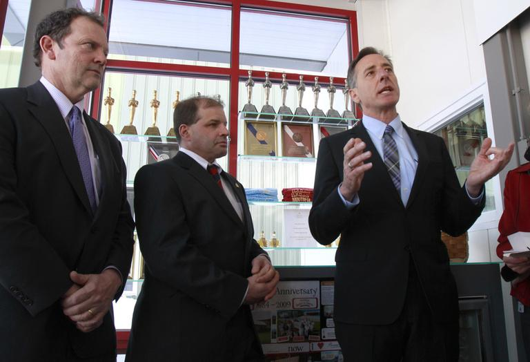 Gov. Peter Shumlin of Vermont, right, announces his jobs plan in Barre, Vt., in February. (AP)