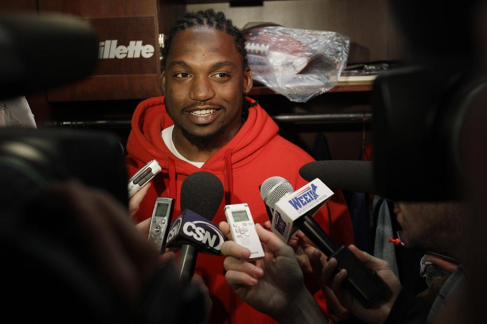 New England Patriots safety Brandon Meriweather speaks to the media in Foxborough, Mass. on Oct. 20, 2010. (AP)