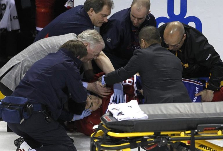 After taking a hit from the Bruins' Zdeno Chara, Max Pacioretty had to be removed from the ice on a stretcher. (AP)