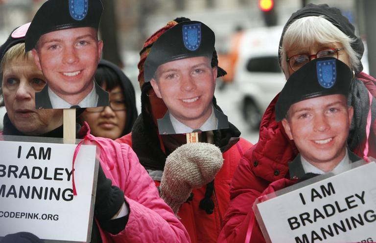 Activists protest outside FBI headquarters in support of U.S. Army Pfc. Bradley Manning, the alleged leaker of documents to WikiLeaks, who is currently jailed. (AP)