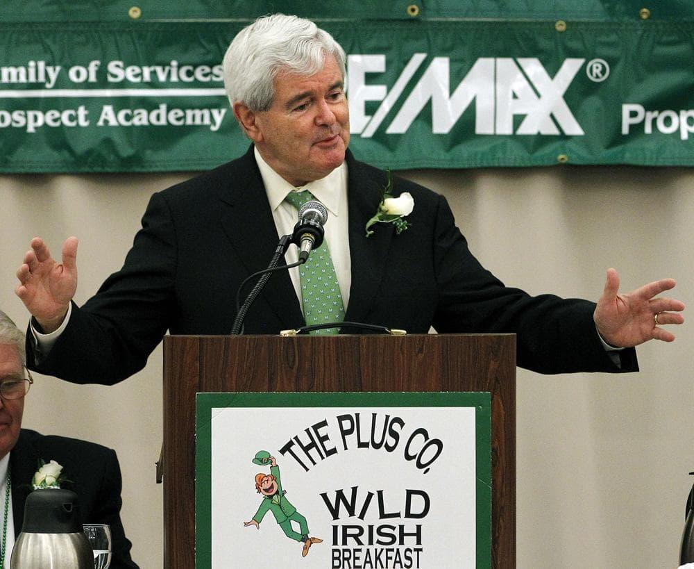 Former U.S. House Speaker Newt Gingrich speaks during a Wild Irish Breakfast in Nashua, N.H., Thursday. (AP)
