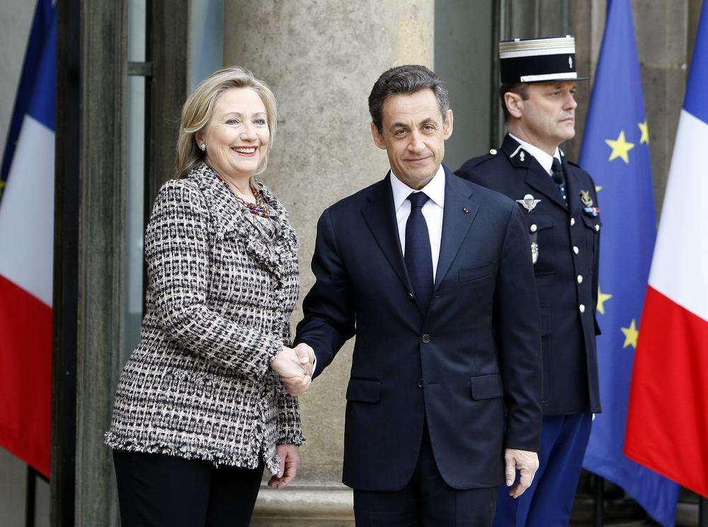 French President Nicolas Sarkozy crisis summit on Libya at the Elysee palace in Paris, Saturday. Britain and France took the lead in plans to enforce a no-fly zone over Libya on Friday, sending British warplanes to the Mediterranean and announcing a crisis summit in Paris with the U.N. and Arab allies. (AP)