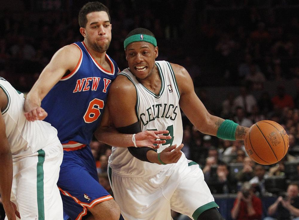 Boston Celtics' Paul Pierce drives past New York Knicks' Landry Fields (6) during the second half of an NBA basketball game Monday in New York. The Celtics won the game 96-86. (AP)