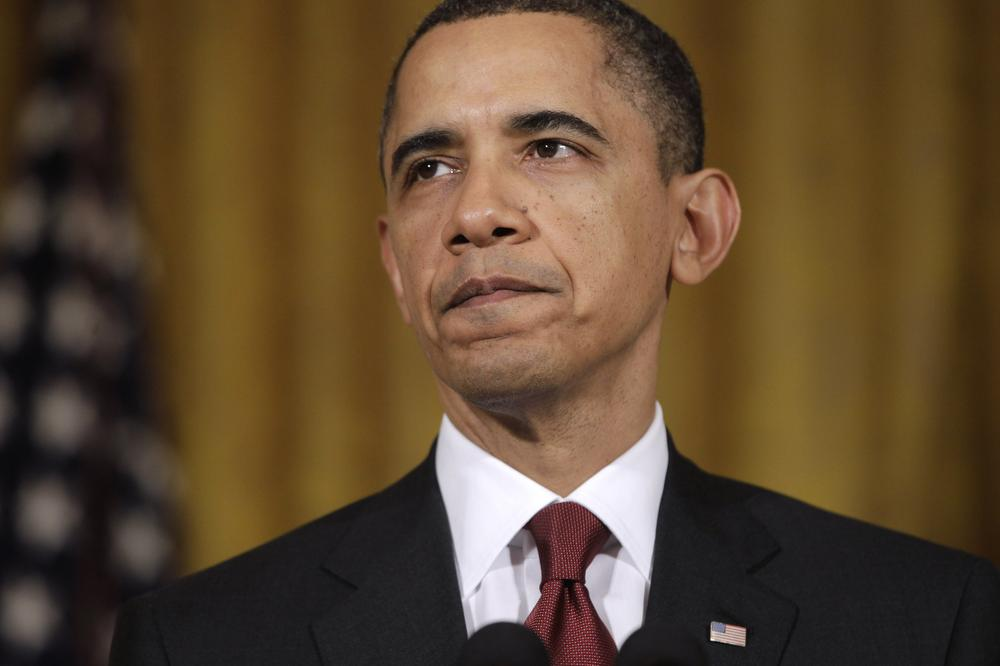 President Barack Obama makes a statement on Libya, in the East Room of the White House in Washington. (AP)