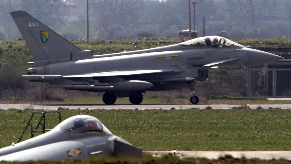 British Royal Air Force Typhoon jets land at the Gioia del Colle air base near Bari, Southern Italy. (AP)