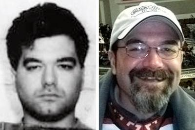 Enrico Ponzo, at left in a 1994 mug shot, and at right in an undated file photo at a hockey game in Idaho (AP)