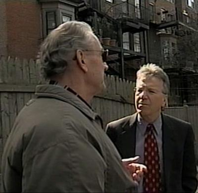 David Boeri, right, interviews Salemme. (WCVB-TV screenshot)