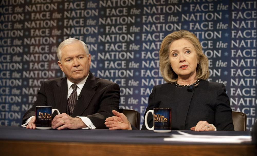 "In this photo released by CBS News Sunday, Secretary of State Hillary Clinton and Secretary of Defense Robert Gates discuss the latest developments in the Middle East during a pre-taped interview of CBS's ""Face the Nation."" (AP/CBS)"