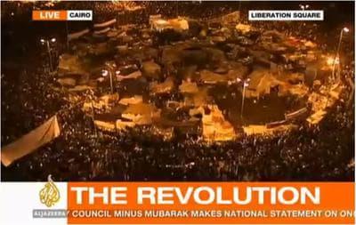 A screen grab from Al Jazeera English on the night Hosni Mubarak left Egypt. (bilal.randeree/Flickr)
