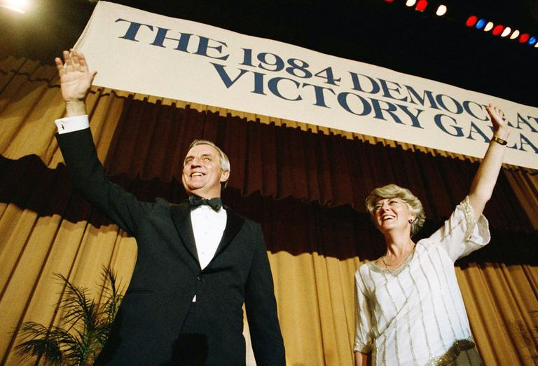 Geraldine Ferraro waves to the crowd at the 1984 Democratic Victory Gala with her running mate, presidential candidate Walter Mondale. (AP)