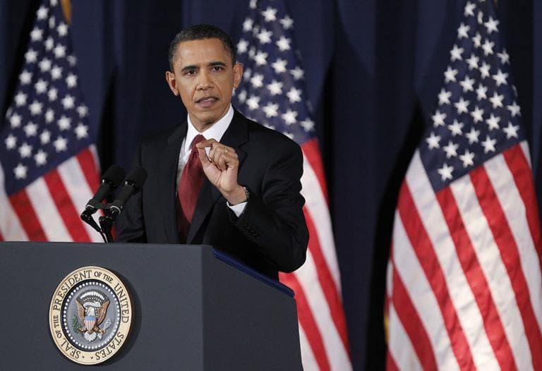 President Barack Obama delivers his address on Libya at the National Defense University in Washington yesterday. (AP)