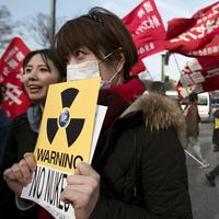 A woman holds a sign against nuclear power during anti-war and anti-nuclear march in Tokyo. (AP)