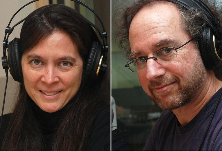 """Director Diane Paulus and composer Tod Machover of """"Death and the Powers"""" in WBUR's On Point studio. (Jesse Costa/WBUR)"""