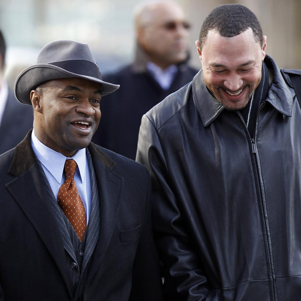 NFL Players Association Executive Director DeMaurice Smith (l) and Pittsburgh Steelers quarterback Charlie Batch were all smiles as they headed into negotiations in Washington, D.C. this week, but a happy outcome isn't certain yet. (AP)