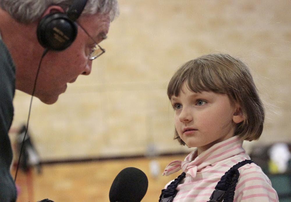 Bill Littlefield interviews Annelise Aminoff. (Photo by Jesse Costa.)