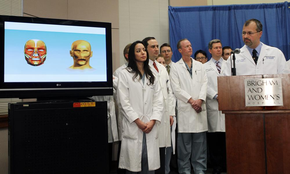 Plastic surgeon Dr. Bohdan Pomahac, far right,  in a news conference at Brigham and Women's Hospital in Boston on Monday, March 21, 2011, to discuss his team's completion of the first full face transplant in the U.S. (AP)
