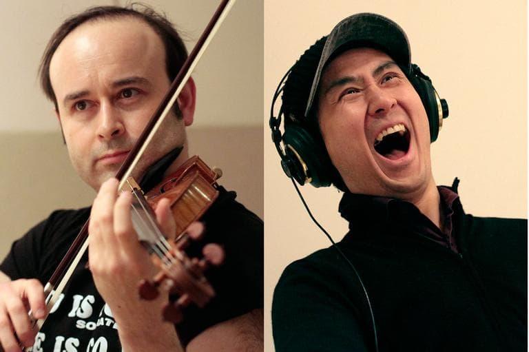 Aleksey Igudesman and Hyung-ki Joo in WBUR studios. (Jesse Costa/WBUR)