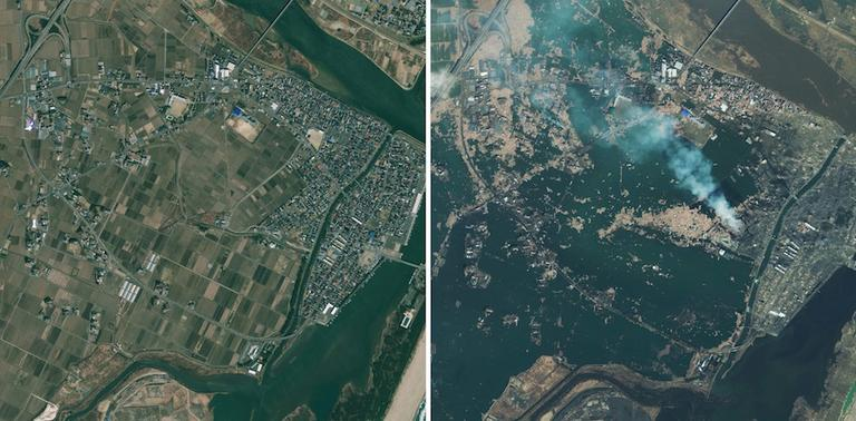 The photo on the left of Natori, Japan was taken April 4, 2010. The photo on right was taken Saturday, March 12, 2011, one day after the earthquake struck the Oshika Peninsula. (AP/GeoEye)