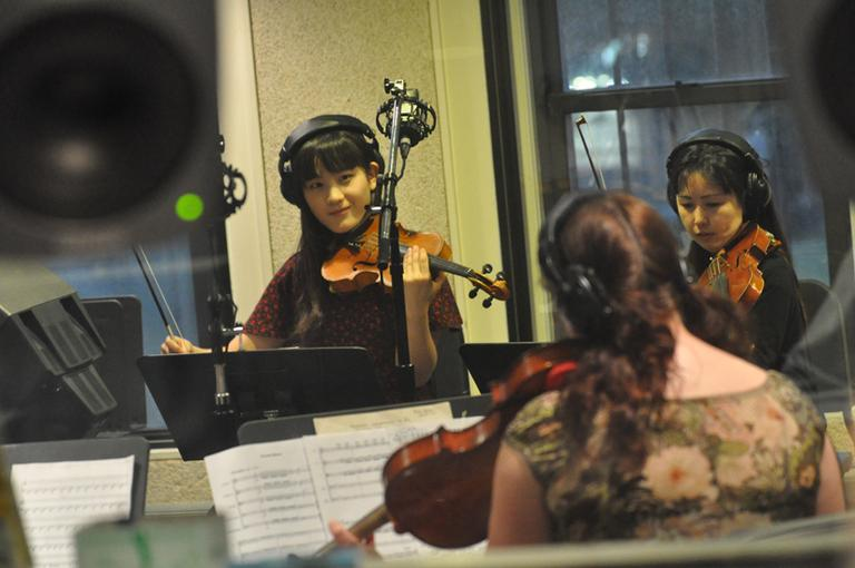 Berklee students in one of the college's film scoring studios. (Phil Farnsworth)