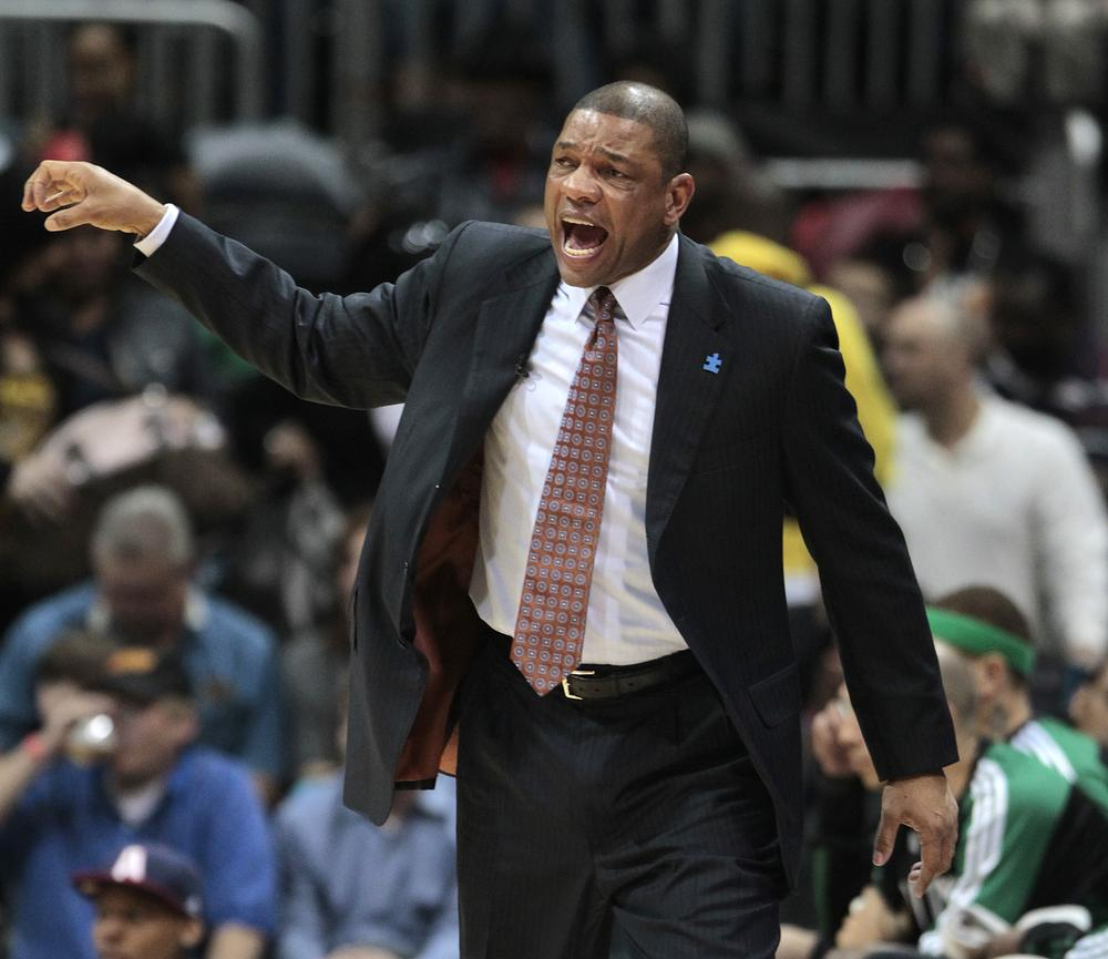 Boston Celtics head coach Doc Rivers yells to his players during the third quarter against the Hawks Friday,  in Atlanta. (AP)