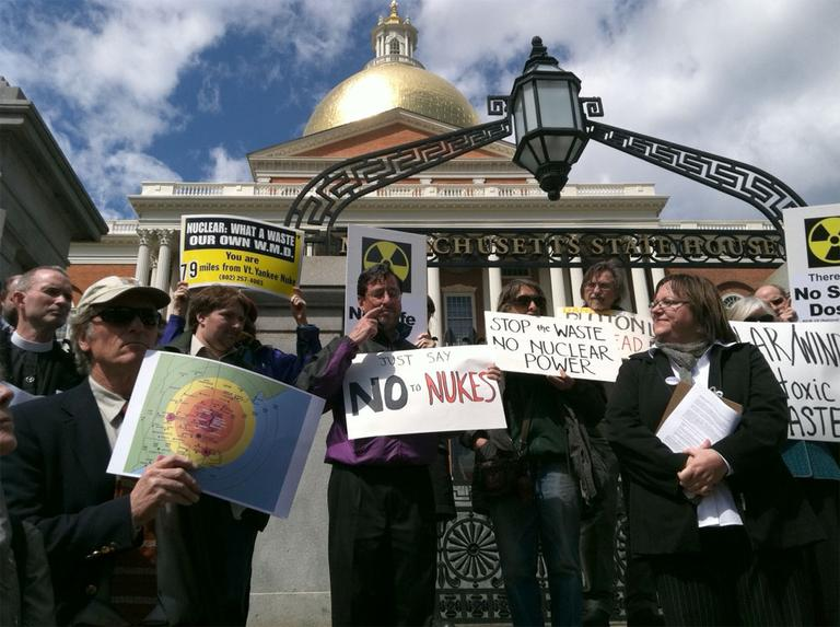 Nuclear power protesters at the State House Wednesday (Steve Brown/WBUR)