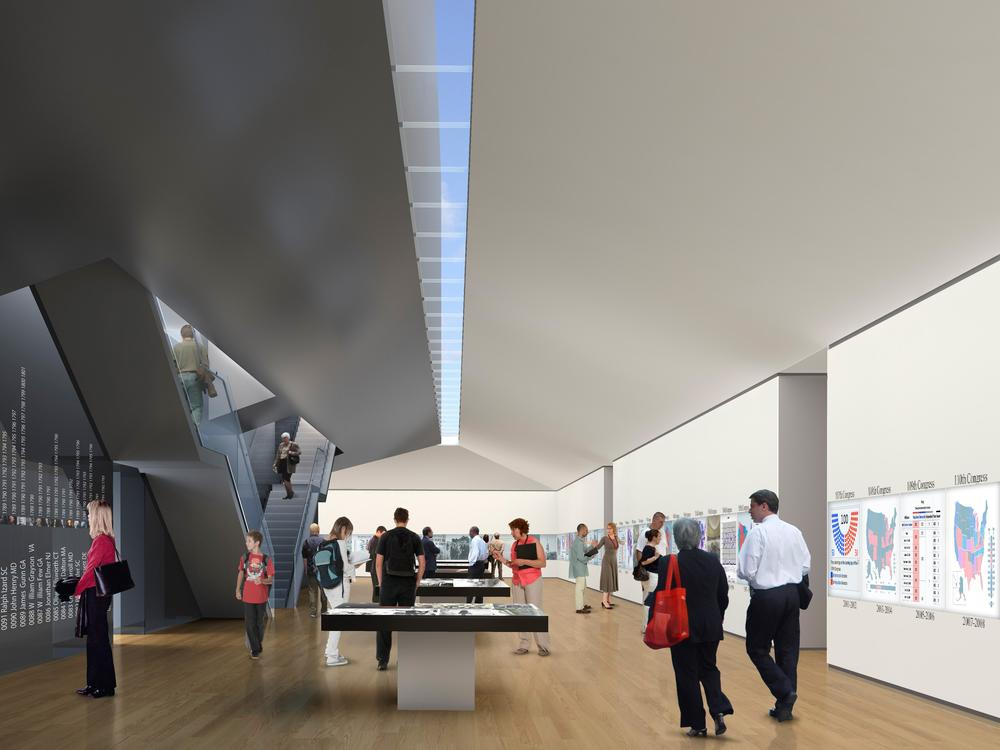 A rendering of what exhibit space in the Edward M. Kennedy Institute would look like. (Courtesy)