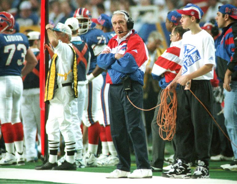 Marv Levy, head coach of the Buffalo Bills, coaches during his fourth-straight Super Bowl loss — to the Cowboys in 1994. (AP)