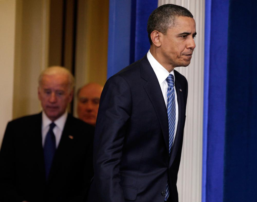 President Obama arrives to speak with media after a meeting with House Speaker John Boehner and Senate Majority Leader Harry Reid at the White House in Washington. (AP Photo/Carolyn Kaster)