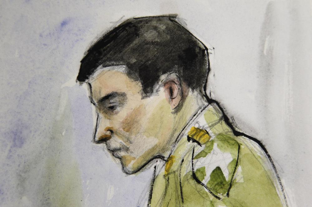 """In this courtroom sketch, Spc. Jeremy Morlock, of Wasilla, Alaska, was sentenced to 24 years in prison after saying """"the plan was to kill people"""" in a conspiracy with four fellow soldier that left three Afghan citizens dead. (AP)"""