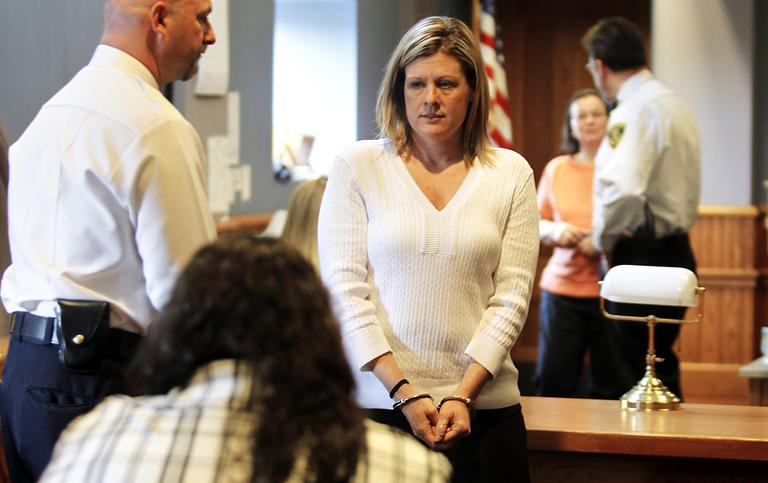 Kristen LaBrie looks at family and friends after being found guilty on all four criminal counts, including attempted murder at Lawrence Superior Court, Tuesday. (AP)
