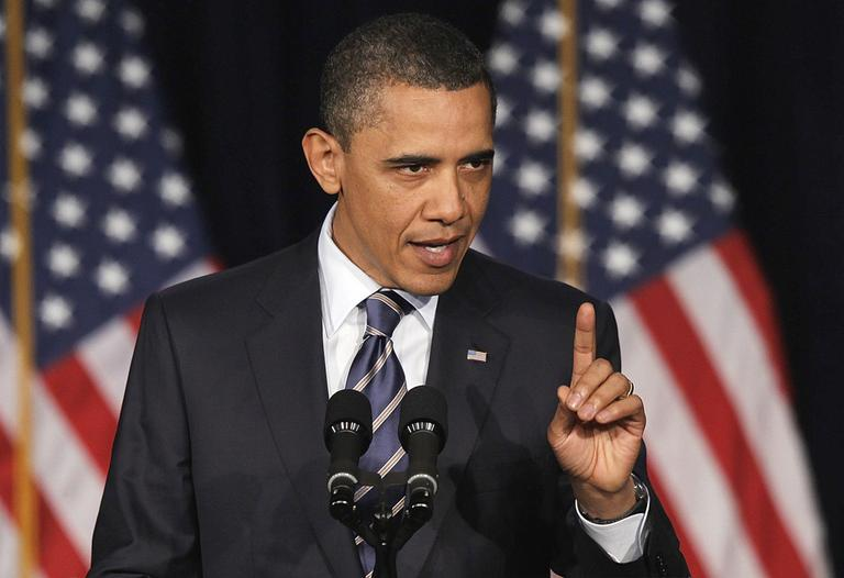President Obama outlines his fiscal policy during an address at George Washington University in Washington, Wednesday. (AP)