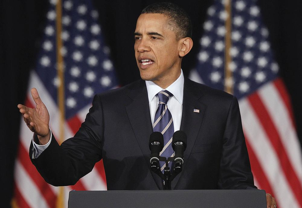 President Barack Obama outlines his fiscal policy during an address at George Washington University in Washington.  (AP)