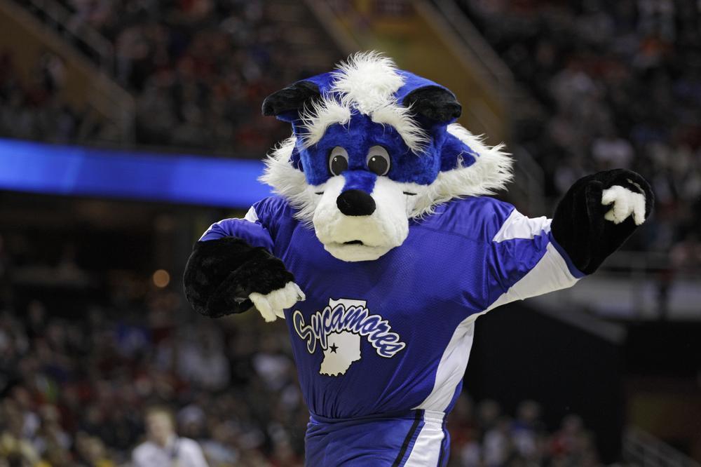 The Indiana State mascot, Sycamore Sam, performs during the second round of the NCAA college basketball tournament. (AP)