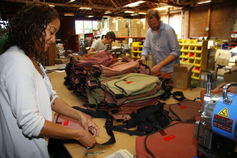 Workers at Rickshaw Bagworks in San Francisco produce about 50,000 messenger bags a year. (Joseph Montana, Rickshaw Bagworks)