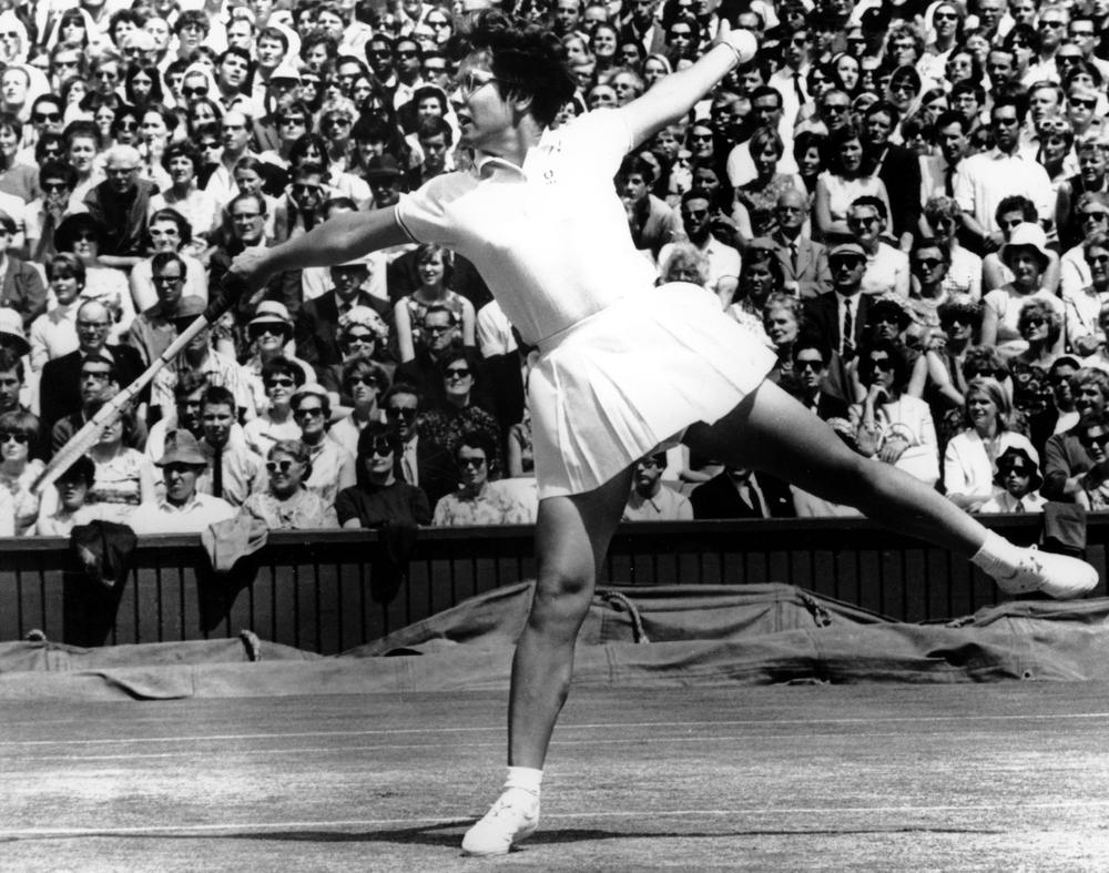 American tennis player Billie Jean King plays at the All England Lawn Tennis Championships at Wimbledon in London on July 8, 1967. (AP)