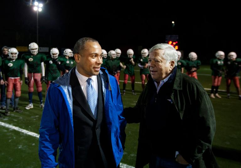 New England Patriots owner Robert Kraft was traveling on Gov. Deval Patrick's trade mission to Israel during last month's NFL negotiations. He's now back and involved in the talks. (AP)