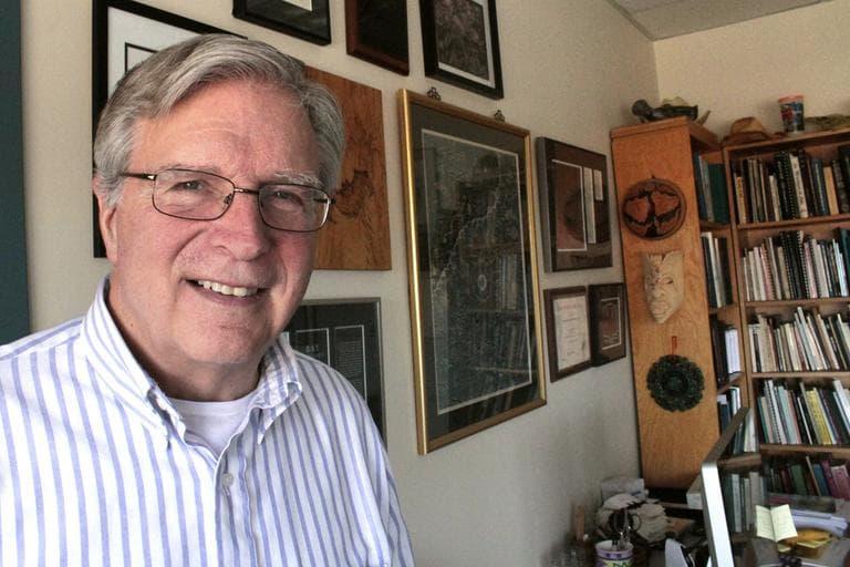 Professor Thomas Kunz works at BU and his office is festooned with bat paraphenlia. (Jesse Costa/WBUR)