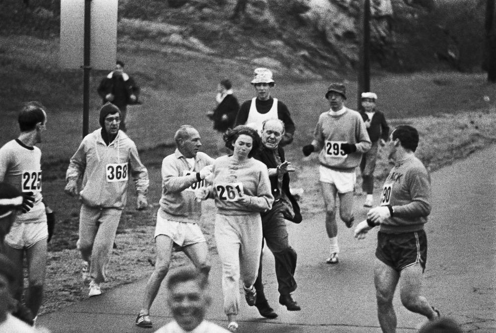 In 1967, challenging the all-male tradition of the Boston Marathon, Kathrine Switzer, at the time a headstrong 20-year-old junior at Syracuse University, entered the race. Two miles in, a race official tried to physically remove her from the competition. (AP)
