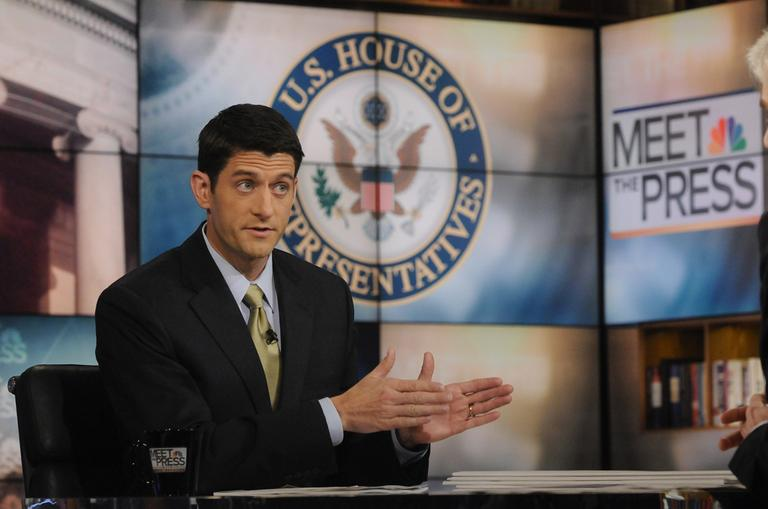 "Republican Budget Committee Chairman Paul Ryan, R-Wis., talks about the budget on NBC's ""Meet the Press"" in Washington Sunday. (AP)"
