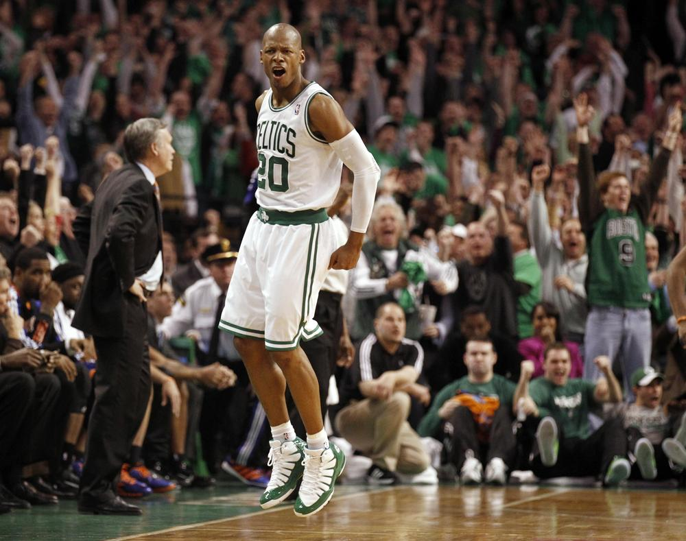 Boston Celtics' Ray Allen celebrates after hitting the game winning three point shot as New York Knicks head coach Mike D'Antoni, left, looks on during the fourth quarter of Boston's 87-85 win in Game 1 of the playoff in Boston on Sunday. (AP)
