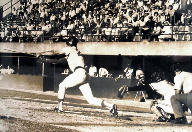 Pawtucket Red Sox first baseman Dave Koza drives in the winning run against the Rochester Red Wings to end the 33-inning marathon minor league game on June 23, 1981, at McCoy Stadium in Pawtucket, R.I. (AP)