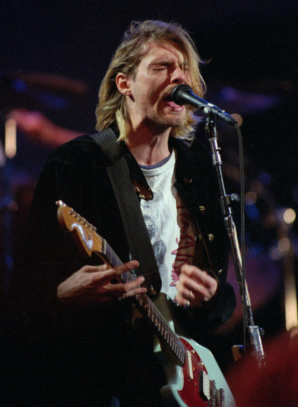 """The late Kurt Cobain, former singer and songwriter of the Seattle band """"Nirvana."""" (AP)"""