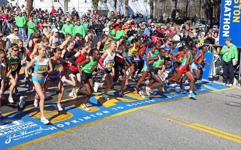 The elite women start the 115th running of the Boston Marathon, in Hopkinton, Mass., Monday, April 18, 2011. (AP)