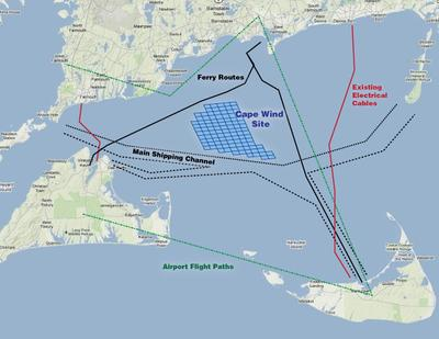 CLICK TO ENLARGE: A map view of the proposed Cape Wind site (Jesse Costa/WBUR)
