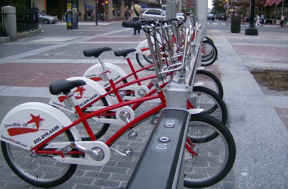 A bike share rack in Washington, D.C. (*Sally M8*/Flickr)