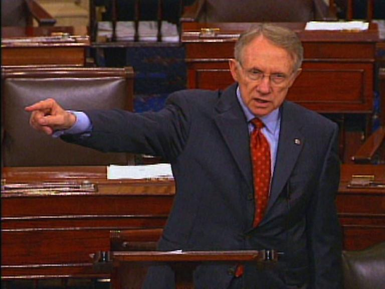 In this 2006 photo, Senate Democratic leader Harry Reid gives a speech on the Senate floor. (AP)